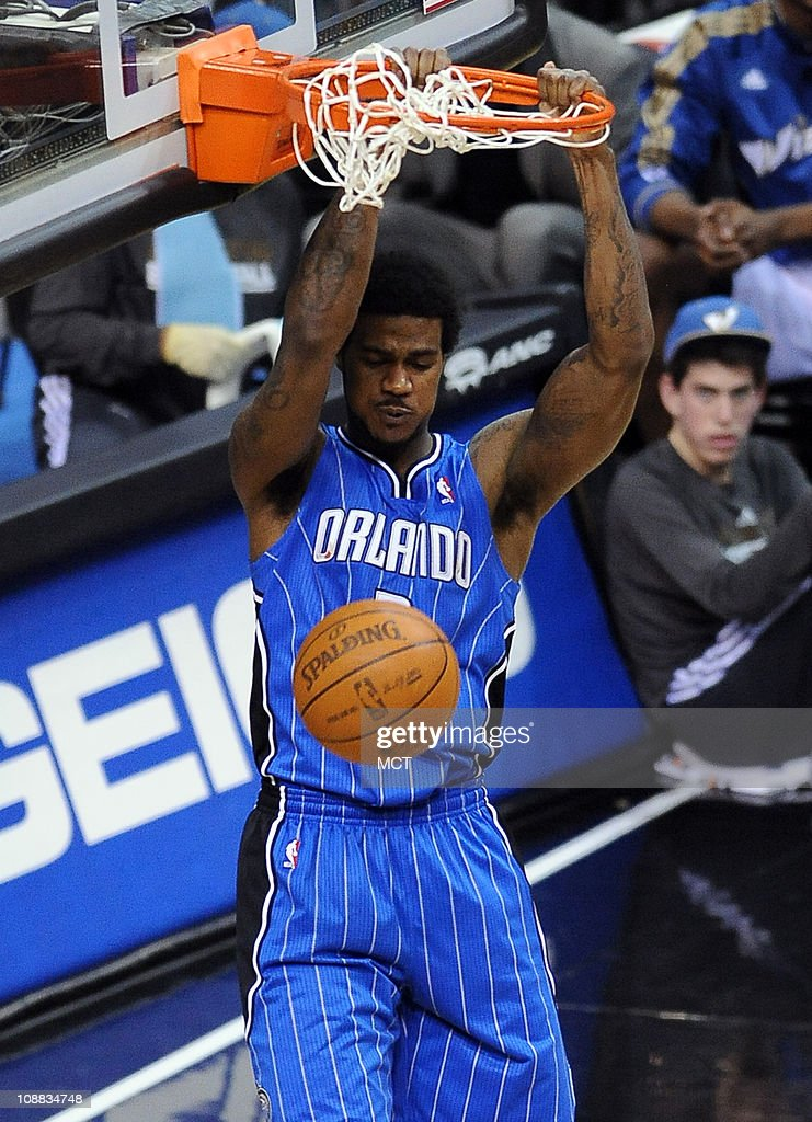 Orlando Magic forward Earl Clark (3) dunks during fourth-quarter action against the Washington Wizards. The Magic defeated the Wizards, 110-92, at the Verizon Center in Washington, D.C., Friday, February 4, 2011.