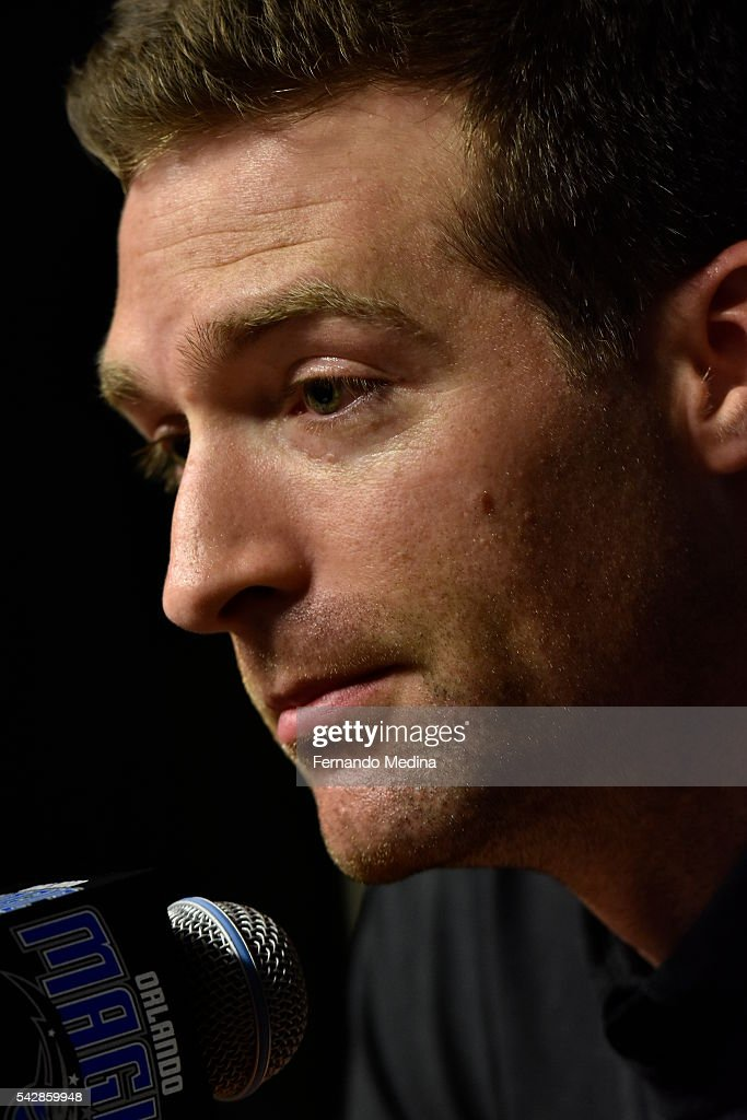 Orlando Magic general manager <a gi-track='captionPersonalityLinkClicked' href=/galleries/search?phrase=Rob+Hennigan&family=editorial&specificpeople=9488474 ng-click='$event.stopPropagation()'>Rob Hennigan</a> addresses the media during the 2016 NBA Draft on June 23, 2016 at Amway Center in Orlando, Florida.