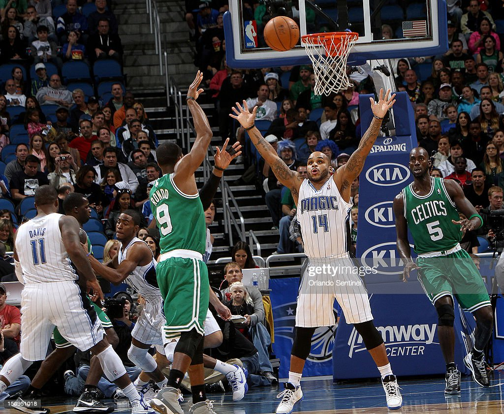 Orlando Magic guard Jameer Nelson defends during their game against the Boston Celtics at the Amway Center on Sunday, November 25, 2012, in Orlando, Florida. The Celtics won the game 116-110.
