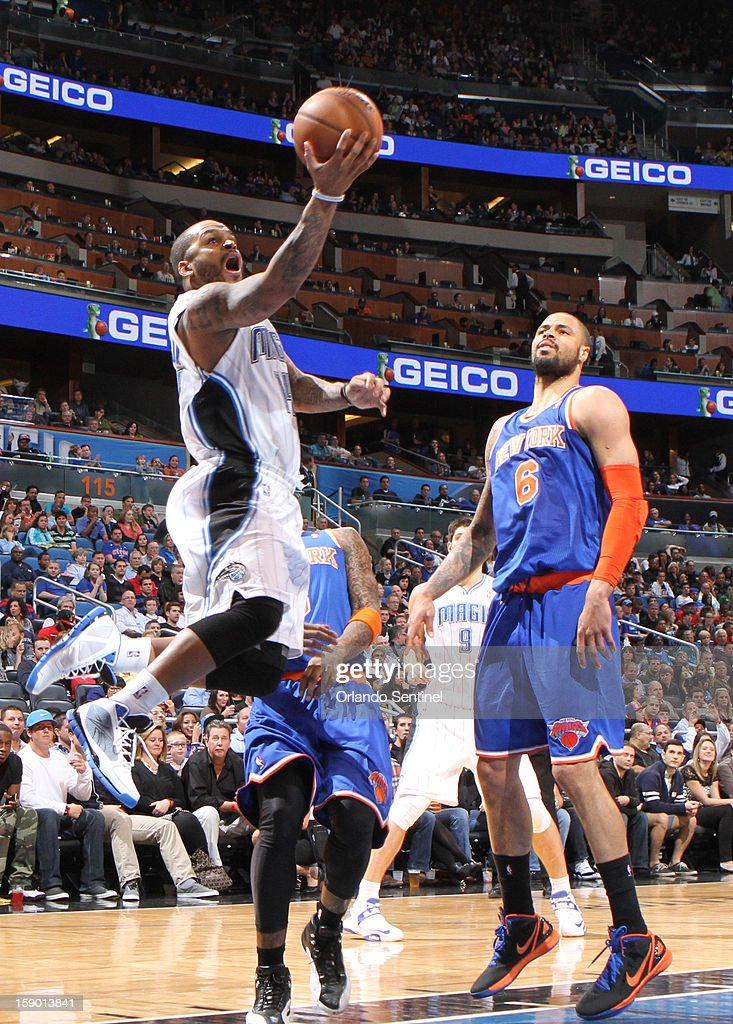 Orlando Magic guard Jameer Nelson (14) drives to the basket during the first half against the New York Knicks at the Amway Center in Orlando, Florida, Saturday, January 5, 2013. The Knicks defeated the Magic, 114-106.