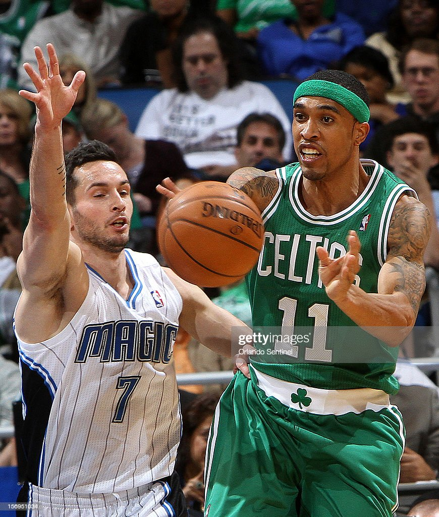 Orlando Magic guard J.J. Redick guards former teammate Courtney Lee during their game against the Boston Celtics at the Amway Center on Sunday, November 25, 2012, in Orlando, Florida. The Celtics won the game 116-110.
