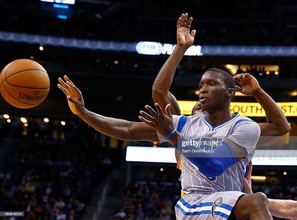 Orlando Magic guard Victor Oladipo makes a pass during the game against the Cleveland Cavaliers at Amway Center on December 26 2014 in Orlando Florida