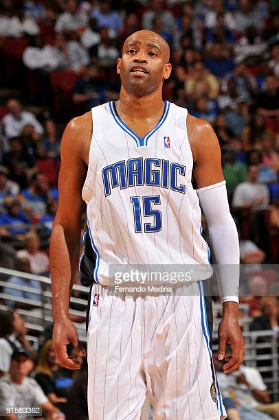 Orlando Magic guard Vince Carter reacts during the preseason game against the Miami Heat on October 7 2008 at Amway Arena in Orlando Florida NOTE TO...
