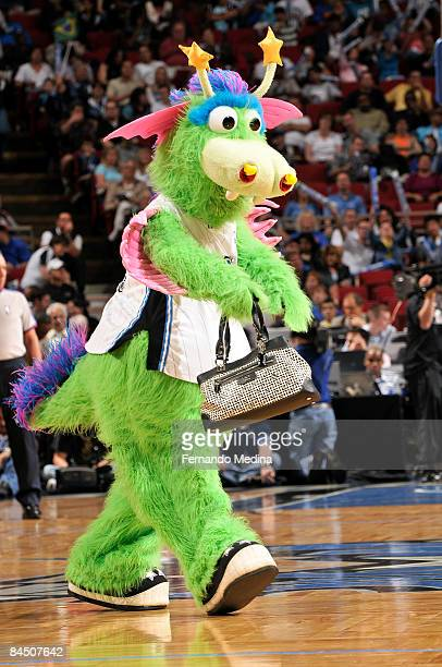 Orlando Magic mascot 'Stuff' borrows a fan's purse during the game against the Indiana Pacers on January 27 2009 at Amway Arena in Orlando Florida...