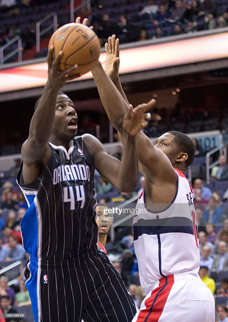 Orlando Magic power forward Andrew Nicholson (44) shoots over Washington Wizards power forward Kevin Seraphin (13) during the first half of their game played at the Verizon Center in Washington, D.C., Monday, January 14, 2013.