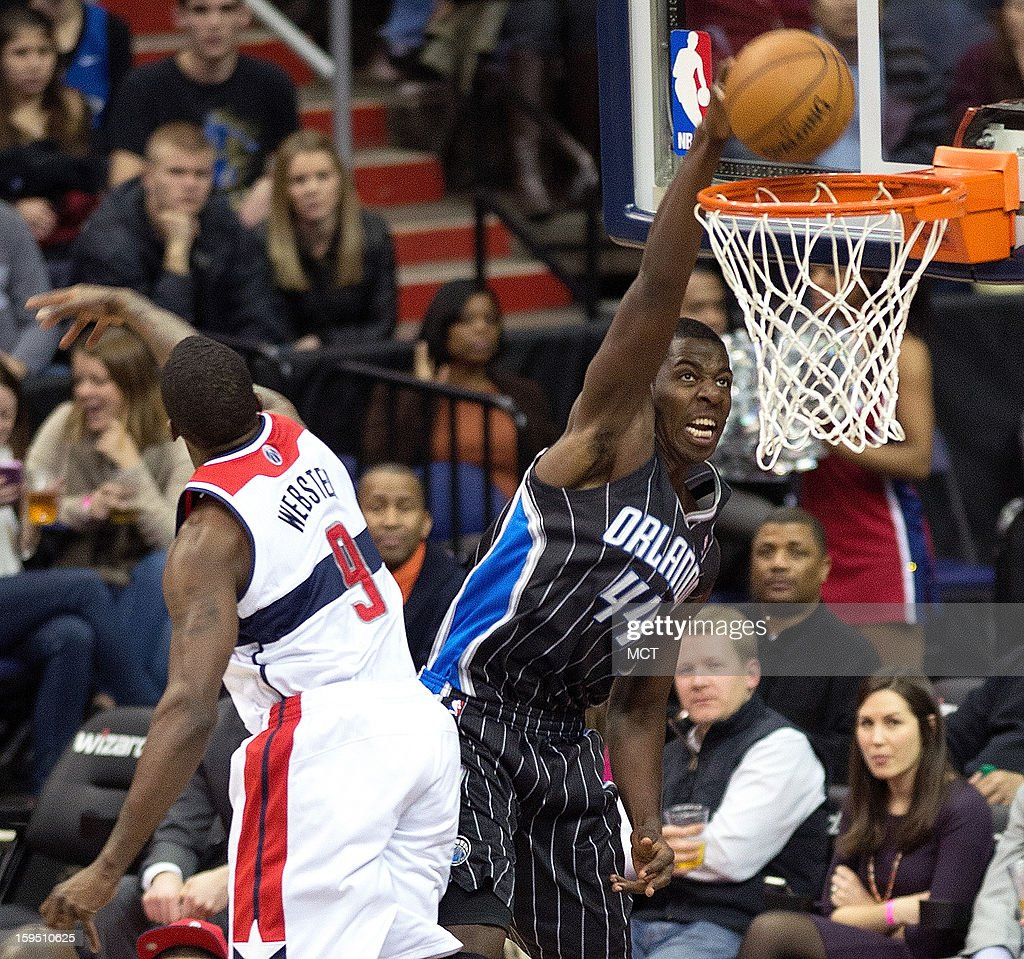 Orlando Magic power forward Andrew Nicholson (44) slam dunks over Washington Wizards small forward Martell Webster (9) during the second half of their game played at the Verizon Center in Washington, D.C., Monday, January 14, 2013. Washington defeated Orlando 120-91.