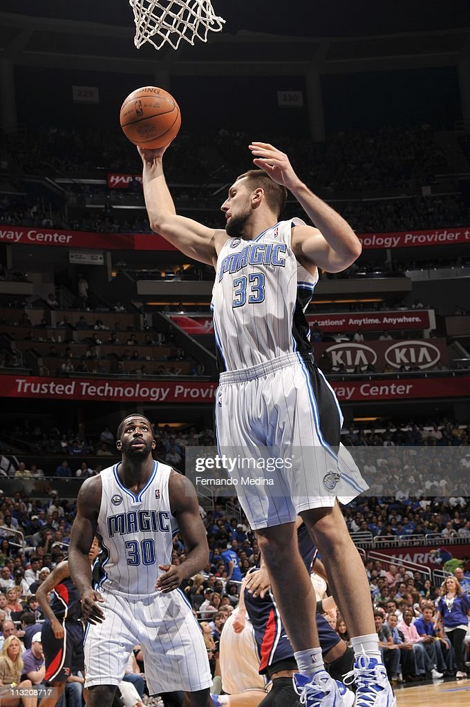 Orlando Magic power forward Ryan Anderson #33 goes to the basket during an action against the Atlanta Hawks in Game Five of the Eastern Conference Quarterfinals in the 2011 NBA Playoffs on April 26, 2011 at the Amway Center in Orlando, Florida. The Magic won 101-76.