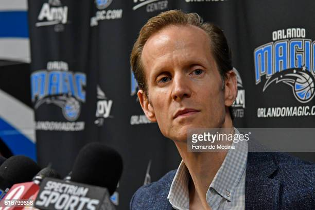 Orlando Magic President of Basketball Operations Jeff Weltman addresses the media on July 18 2017 at Amway Center in Orlando Florida NOTE TO USER...