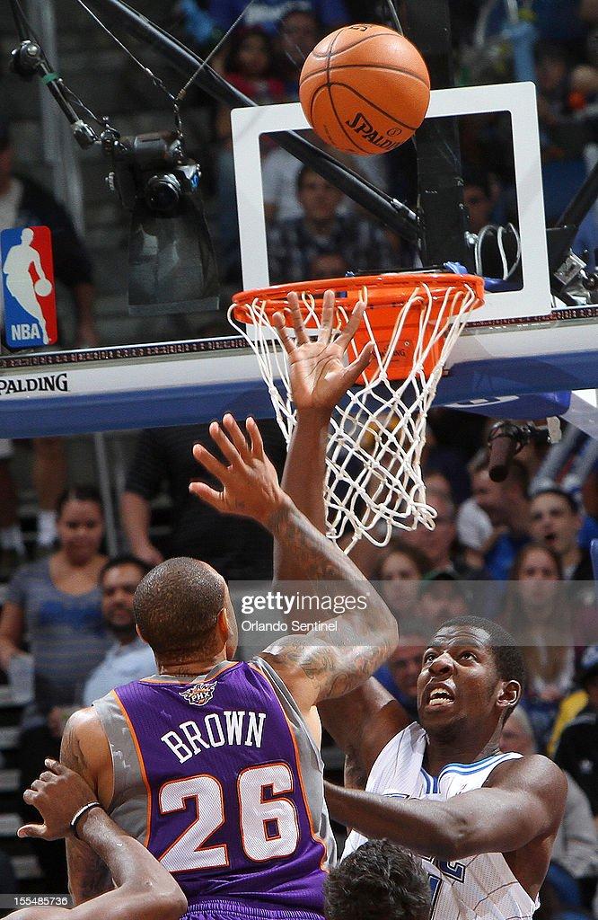 Orlando Magic rookie Andrew Nicholson guards Phoenix Suns' Shannon Brown on Sunday November 4 in Orlando Florida The Magic won the game 11594