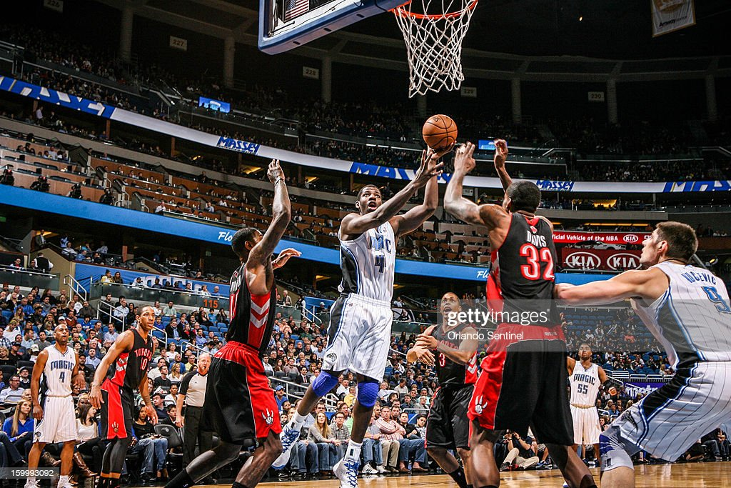 Orlando Magic's Andrew Nicholson (44) goes up for a layup during first-quarter action against the Toronto Raptors at Amway Center in Orlando, Florida, Thursday, January 24, 2013.