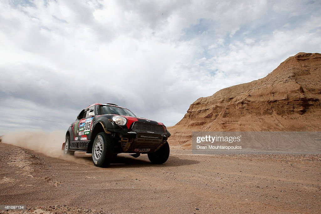 Orlando Orly Terranova and Ronnie Graue of Argentina driving for the ALL4 Racing Mini Monster Energy Rally Raid Team compete during day 3 of the Dakar Rallly on January 6, 2015 between San Juan to Chilecito, near the town of Talacasto, Argentina.