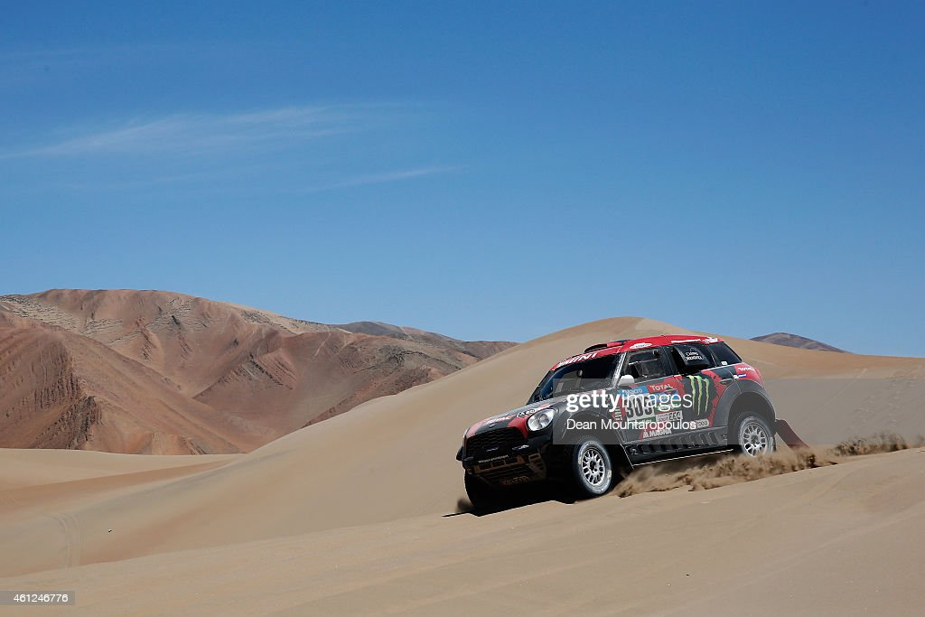 Orlando Orly Terranova and Ronnie Graue of Argentina driving for the ALL4 Racing Mini Monster Energy Rally Raid Team compete during day 6 of the Dakar Rallly between Antofaasta and Iquique on January 9, 2015 near Iquique, Chile.
