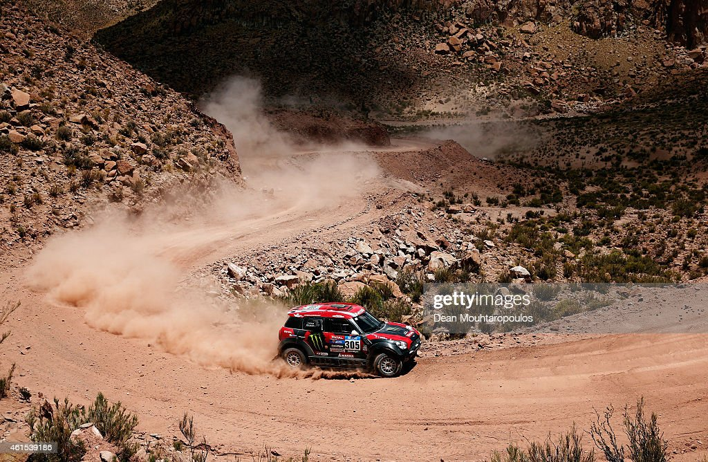 Orlando Orly Terranova and Ronnie Graue of Argentina driving for the ALL4 Racing Mini Monster Energy Rally Raid Team compete near the Salinas Grandes during Stage 10 on day 11 of the Dakar Rallly between Calama and Cachi on January 13, 2015 near San Salvador de Jujuy, Argentina.