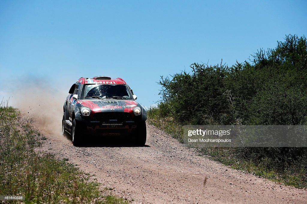Orlando Orly Terranova and Ronnie Graue of Argentina driving for the ALL4 Racing Mini Monster Energy Rally Raid Team compete during Stage 12 on day 13 of the Dakar Rally between Termas de Rio Hondo and Rosario on January 16, 2015 near Cordoba, Argentina.