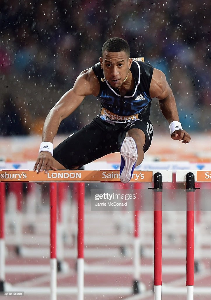 <a gi-track='captionPersonalityLinkClicked' href=/galleries/search?phrase=Orlando+Ortega&family=editorial&specificpeople=7863118 ng-click='$event.stopPropagation()'>Orlando Ortega</a> of Cuba competes in the Mens 110m Heat A during day one of the Sainsbury's Anniversary Games at The Stadium - Queen Elizabeth Olympic Park on July 24, 2015 in London, England.
