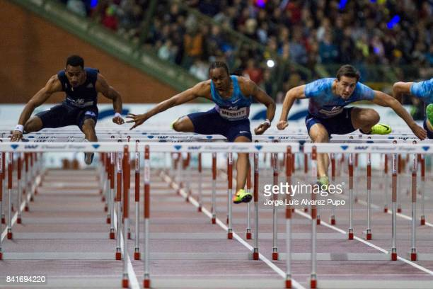 Orlando Ortega of Spain Aries Merritt of USA and Serguey Shubenkov of Russia compete in men's 110m Hurdles during the AG Insurance Memorial Van Damme...