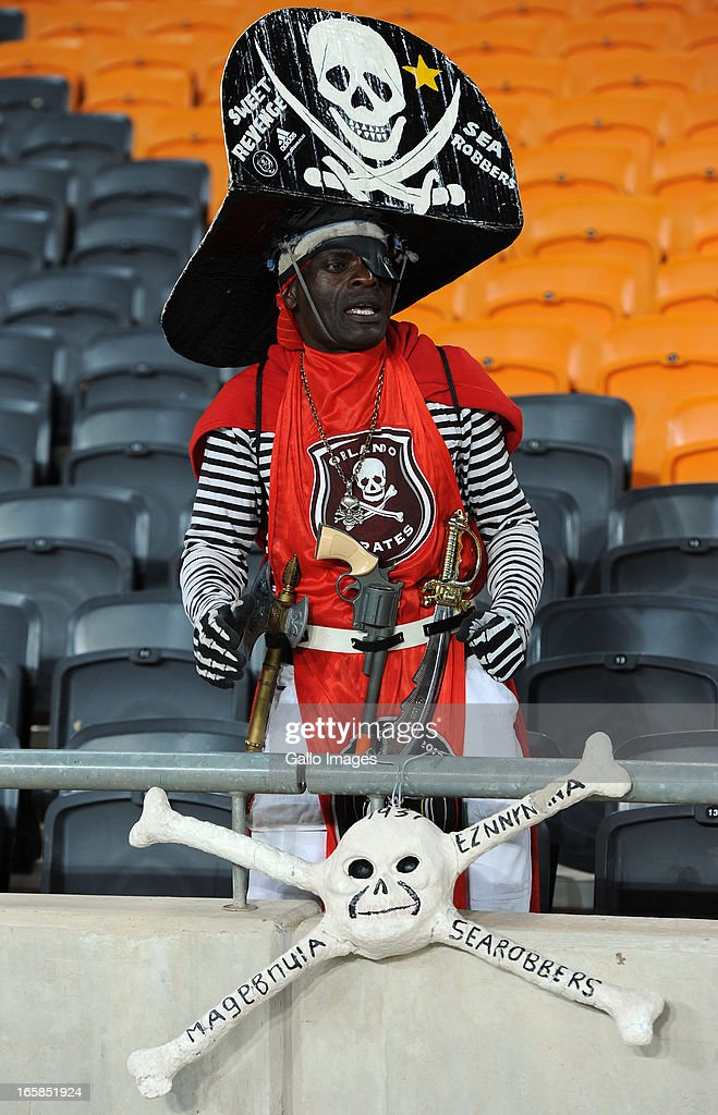Orlando Pirates supporter during the CAF Confedaration Cup match between Orlando Pirates and Zanaco at FNB Stadium on April 06, 2013 in Johannesburg, South Africa.