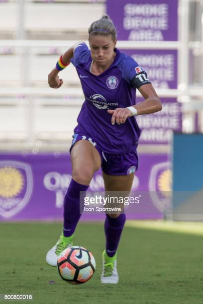 Orlando Pride defender Alanna Kennedy brings the ball down field during the NWSL soccer match between the Houston Dash and Orlando Pride on June 24...