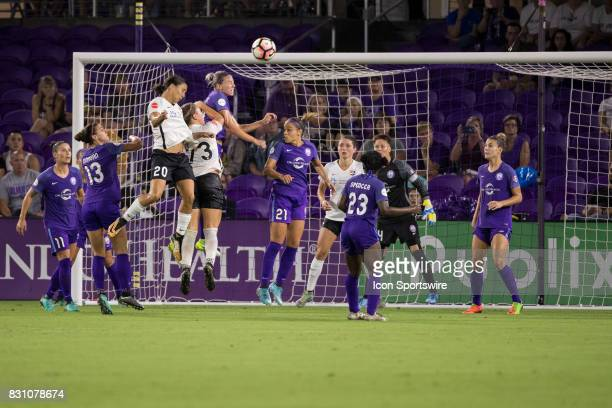 Orlando Pride defender Alanna Kennedy goes up for a header during the NWSL soccer match between the Orlando Pride and Sky Blue FC on August 12 2017...