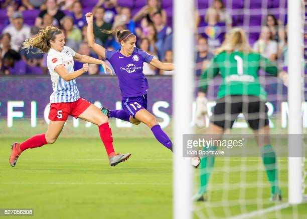 Orlando Pride defender Ali Krieger shoots on goal during the NWSL soccer match between the Orlando Pride and the Chicago Red Stars on August 5th 2017...