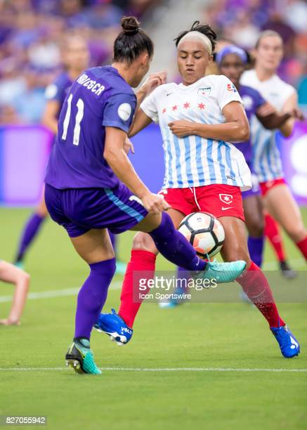 Orlando Pride defender Ali Krieger shots on goal during the NWSL soccer match between the Orlando Pride and the Chicago Red Stars on August 5th 2017...