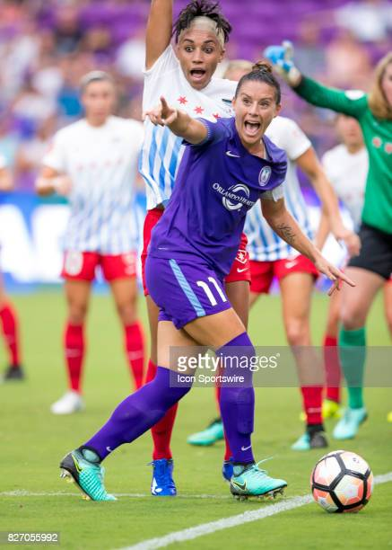 Orlando Pride defender Ali Krieger wants a corner kick from the line ref during the NWSL soccer match between the Orlando Pride and the Chicago Red...