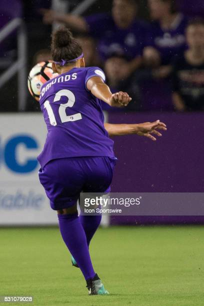 Orlando Pride defender Kristen Edmonds kicks the ball during the NWSL soccer match between the Orlando Pride and Sky Blue FC on August 12 2017 at...