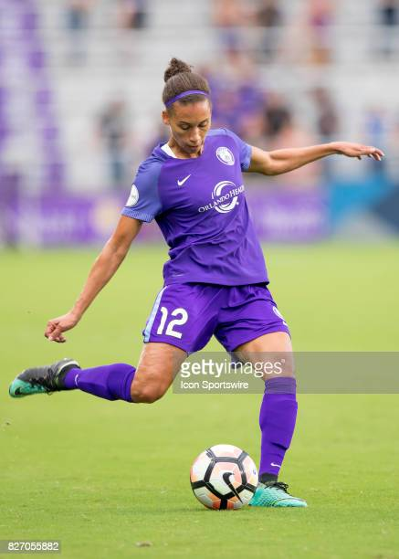 Orlando Pride defender Kristen Edmonds passes the ball during the NWSL soccer match between the Orlando Pride and the Chicago Red Stars on August 5th...