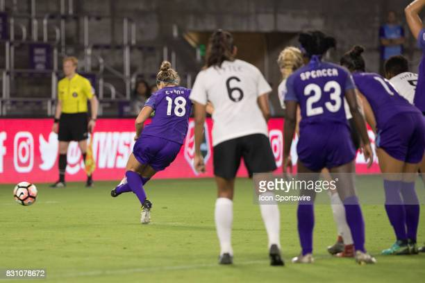 Orlando Pride defender Maddy Evans takes a penalty kick during the NWSL soccer match between the Orlando Pride and Sky Blue FC on August 12 2017 at...