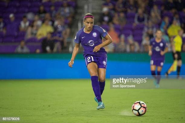 Orlando Pride defender Monica Hickman Alves kicks the ball during the NWSL soccer match between the Orlando Pride and Sky Blue FC on August 12 2017...
