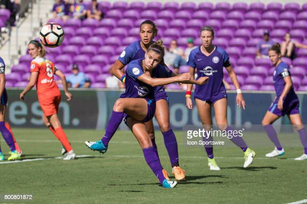 Orlando Pride defender Steph Catley kicks the ball during the NWSL soccer match between the Houston Dash and Orlando Pride on June 24 2017 at Orlando...