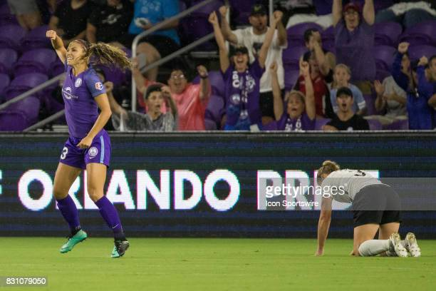 Orlando Pride forward Alex Morgan celebrates after scoring a goal during the NWSL soccer match between the Orlando Pride and Sky Blue FC on August 12...