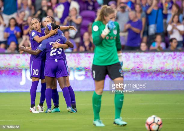 Orlando Pride forward Alex Morgan celebrates hr goal during the NWSL soccer match between the Orlando Pride and the Chicago Red Stars on August 5th...