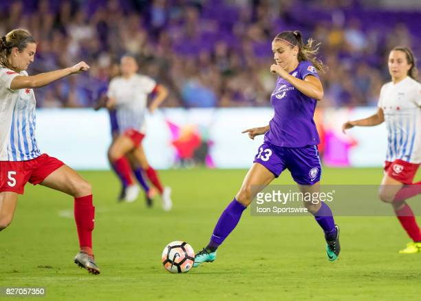 Orlando Pride forward Alex Morgan drives into the 18 yard line during the NWSL soccer match between the Orlando Pride and the Chicago Red Stars on...