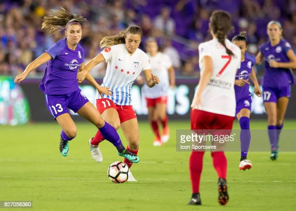 Orlando Pride forward Alex Morgan gets fouled byChicago Red Stars midfielder Sofia Huerta during the NWSL soccer match between the Orlando Pride and...