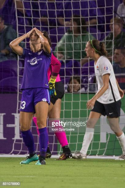 Orlando Pride forward Alex Morgan reacts after missing a goal during the NWSL soccer match between the Orlando Pride and Sky Blue FC on August 12...