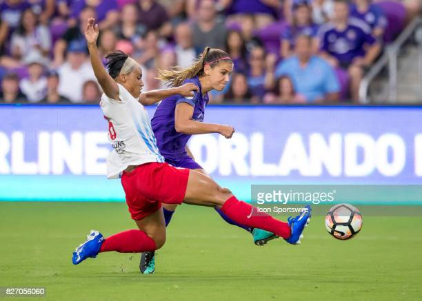Orlando Pride forward Alex Morgan scores the games first goal for the pride during the NWSL soccer match between the Orlando Pride and the Chicago...