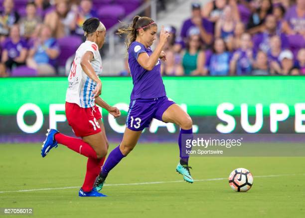 Orlando Pride forward Alex Morgan shoots on goal during the NWSL soccer match between the Orlando Pride and the Chicago Red Stars on August 5th 2017...