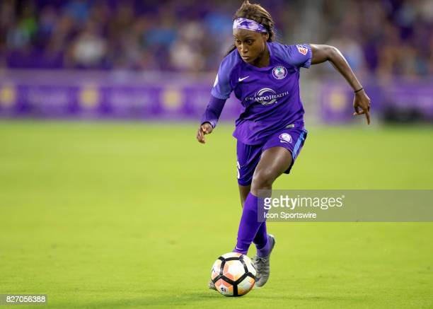 Orlando Pride forward Chioma Ubogagu brings the ball up field during the NWSL soccer match between the Orlando Pride and the Chicago Red Stars on...