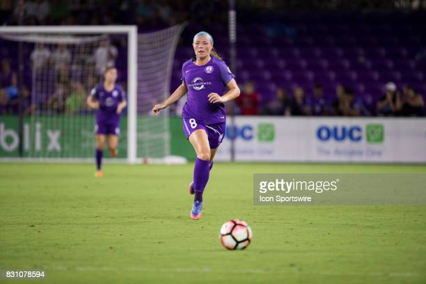 Orlando Pride forward Danica Evans chases down the ball during the NWSL soccer match between the Orlando Pride and Sky Blue FC on August 12 2017 at...