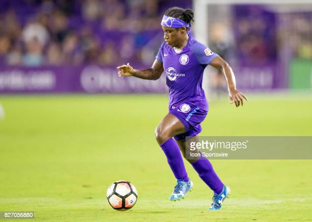 Orlando Pride forward Jasmyne Spencer during the NWSL soccer match between the Orlando Pride and the Chicago Red Stars on August 5th 2017 at Orlando...