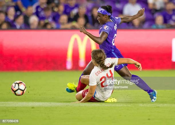 Orlando Pride forward Jasmyne Spencer gets fouled by Chicago Red Stars midfielder Danielle Colaprico during the NWSL soccer match between the Orlando...