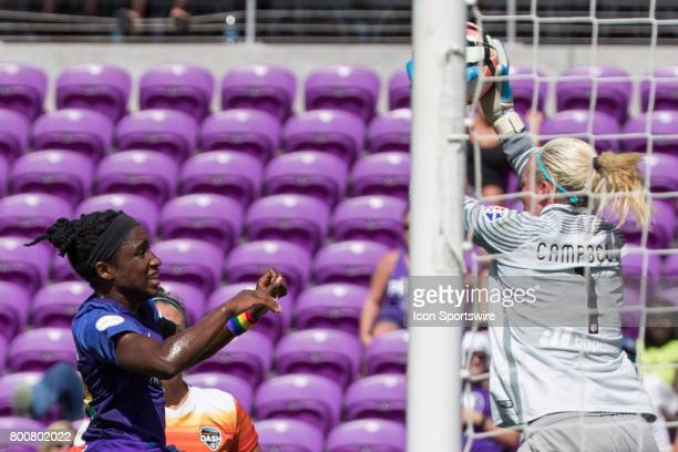 Orlando Pride forward Jasmyne Spencer takes a shot on goal during the NWSL soccer match between the Houston Dash and Orlando Pride on June 24 2017 at...