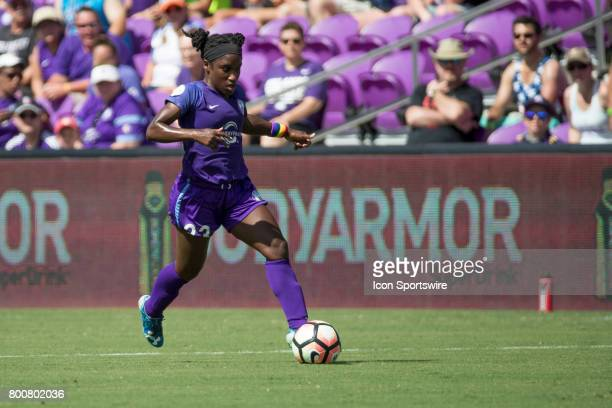 Orlando Pride forward Jasmyne Spencer takes the ball down field during the NWSL soccer match between the Houston Dash and Orlando Pride on June 24...