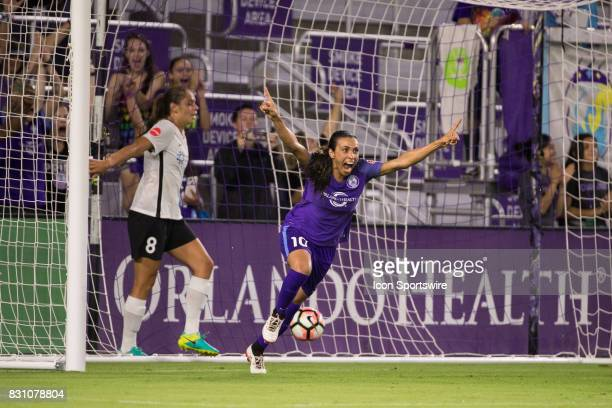 Orlando Pride forward Marta celebrates after scoring a goal during the NWSL soccer match between the Orlando Pride and Sky Blue FC on August 12 2017...
