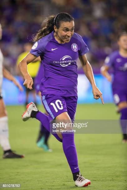 Orlando Pride forward Marta runs to team mates after scoring a goal during the NWSL soccer match between the Orlando Pride and Sky Blue FC on August...