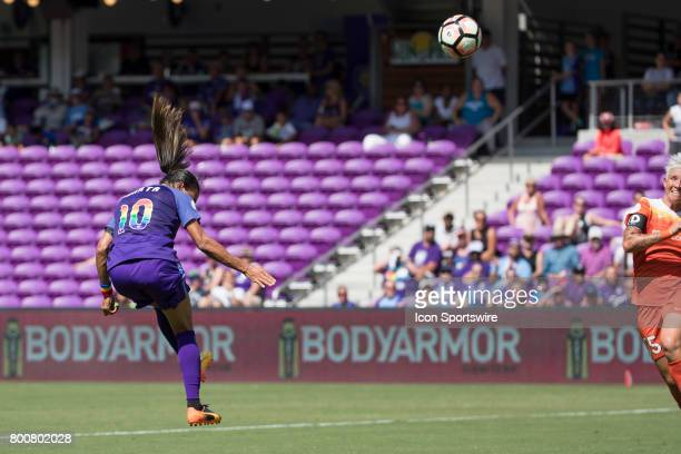 Orlando Pride forward Marta takes a shot on goal during the NWSL soccer match between the Houston Dash and Orlando Pride on June 24 2017 at Orlando...