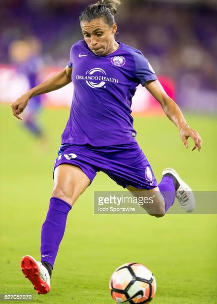 Orlando Pride forward Marta Vieira da Silva passes the ball during the NWSL soccer match between the Orlando Pride and the Chicago Red Stars on...