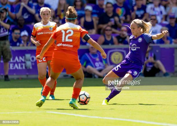 Orlando Pride forward Rachel Hill shoots on goal during the NWSL soccer match between the Orlando Pride and the Houston Dash on June 24 2017 at...