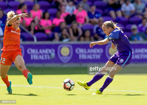 Orlando Pride forward Rachel Hill shoots on goalduring the NWSL soccer match between the Orlando Pride and the Houston Dash on June 24 2017 at Orland...